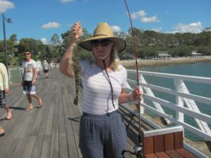 Holly's Flathead while Jetty Fishing